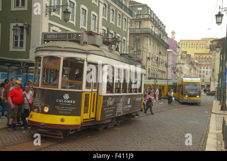 ​Lisbon, Portugal, 4 October, 2015. Tourist seen by a tram stop at Martim Monix square. Credit: David Mbiyu/ Alamy - Stock Image