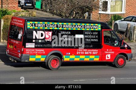 HGV and LGV module 4 training,Ambulance driver training van vehicle - Stock Image