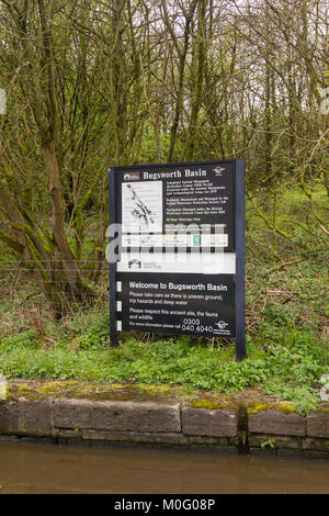 Welcome and information board at Bugsworth Basin on the Peak Forest canal near Whaley Bridge. Begun in 1794, the - Stock Image