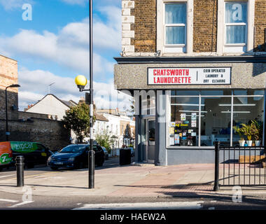 Chatsworth Launderette, Chatsworth Road, London E5 - Stock Image