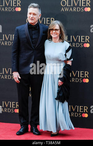 London, UK. 7th Apr 2019. Sally Field and Bill Pullman poses on the red carpet at the Olivier Awards on Sunday 7 April 2019 at Royal Albert Hall, London. Picture by Credit: Julie Edwards/Alamy Live News - Stock Image