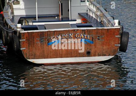 Golden Gate fishing boat at Seahouses, NE England Northumberland, UK - Stock Image