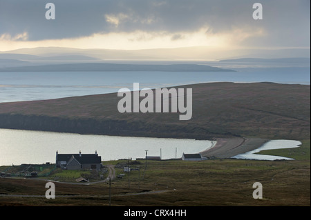 The Ness of Sound in West Yell, Shetland Isles, looking across Yell Sound towards Sullom Voe. October 2010. - Stock Image