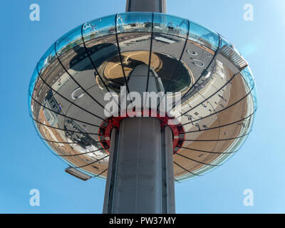 Looking up at the mirrored reflective underside of the British Airways i360 observation pod and needle column, Brighton, East Sussex, England, UK - Stock Image
