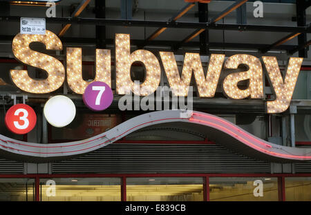Sign above a Subway station in New York City - Stock Image