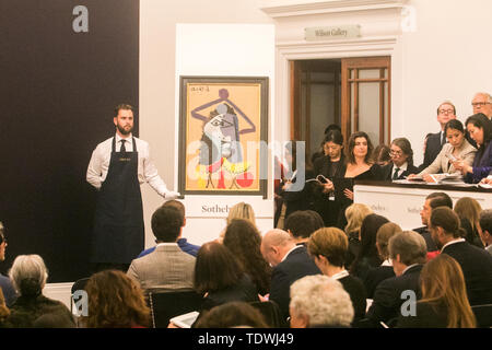 London UK. 19th June 2019.  Pablo Picasso, Buste d'homme, oil on corrugated card laid down on panel, Estimate £1m sold at hammer for £800,000 at the Impressionist & Modern Art Evening Auction  at Sotheby's London Credit: amer ghazzal/Alamy Live News - Stock Image