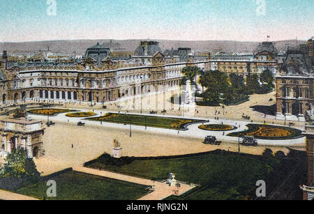 A hand-tinted lithograph of Paris. Dated 20th century - Stock Image