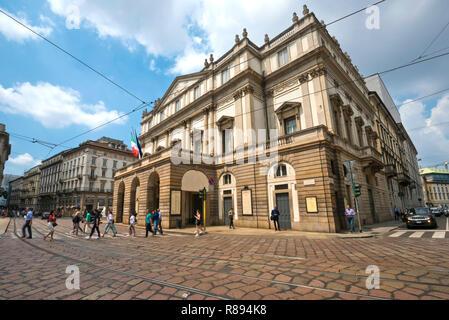 Horizontal view of La Scala in Milan, Italy. - Stock Image