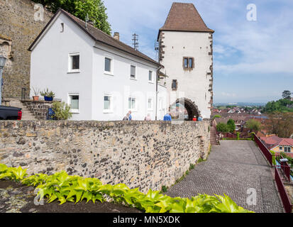 Village Breisach near Freiburg, wall and gate, Breisgau, Baden-Würtemberg, Germany - Stock Image