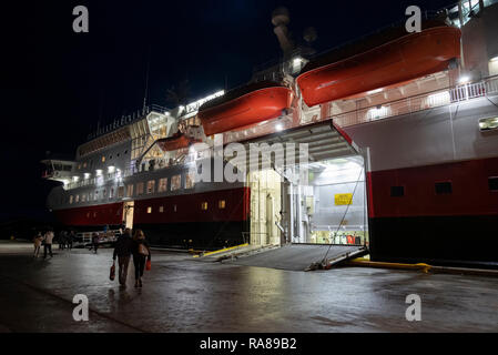 Hurtigruten calling at Stokmarknes, Lofoten Islands, Norway. - Stock Image