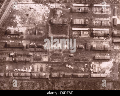 """720. Germany, Bremen """"Focke Wulf aircraft Works.""""Reconnaissance image from RAF post bombing attack of 13.9.1942 - Stock Image"""