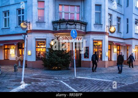 Heidelberger Platz, Wilmersdorf-Berlin.Heidelbeere Restaurant & Bar exterior. Traditional old German Pub - Stock Image