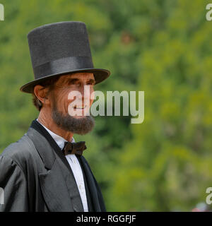 Duncan Mills, CA - July 14, 2018:  Professional reenactor Robert Broski as Lincoln at the Civil War Days, one of the largest reenactment events on the - Stock Image