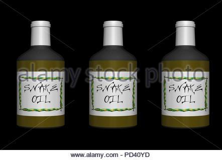 Digital Illustration - Three bottles of snake oil, fake medicine. - Stock Image