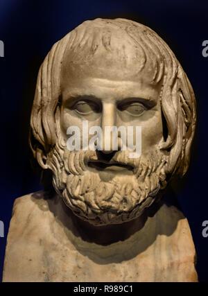 Euripides 480-406 was one of the three tragic Poets Greek Greece ( Roman Copy of an original 4th Century ) - Stock Image