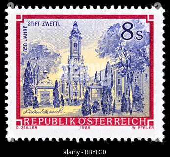 Austrian postage stamp (1988) : Monasteries and Abbeys series: Cistercian Abbey Zwettl / Stift Zwettl - 850th anniversary - Stock Image
