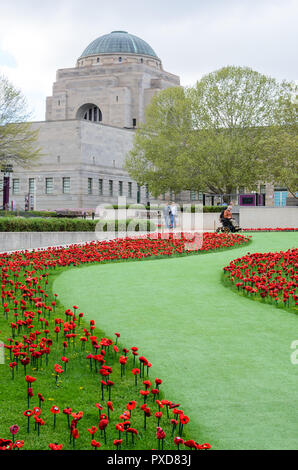 Hand Made Poppies at the Canberra War Memorial - Stock Image