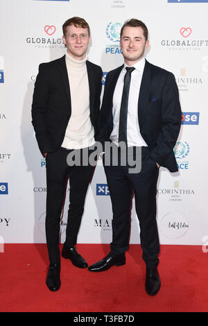London, UK. 08th Apr, 2019. LONDON, UK. April 08, 2019: Jamie Borthwick & Max Bowden arriving for the Football for Peace initiative dinner by Global Gift Foundation at the Corinthia Hotel, London. Picture: Steve Vas/Featureflash Credit: Paul Smith/Alamy Live News - Stock Image