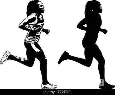 female runner sketch and silhouette - vector - Stock Image