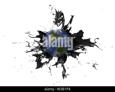 oil splash covering the earth. suitable for fuel, oil, enery and future themes. 3d illustration - Stock Image