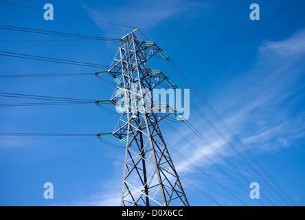 High voltage power line pylon , Finland - Stock Image