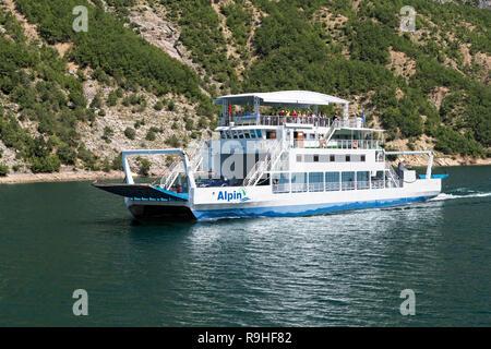 Passenger taxi  Views from Lake Koman Ferry, Albania - Stock Image