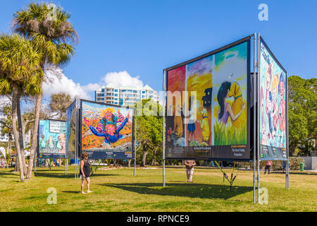 Embracing Our Differences display in Bayfront Park in Sarasota Florida - Stock Image