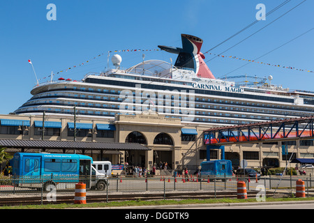 Carnival Magic cruise ship docked at Galveston Texas USA - Stock Image