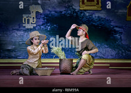 Thailand theatre. Actors on stage. Thai culture show, - Stock Image