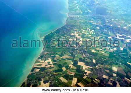 View from an aeroplane of the northern French coast (Dieppe and west of the port). English Channel/France. - Stock Image