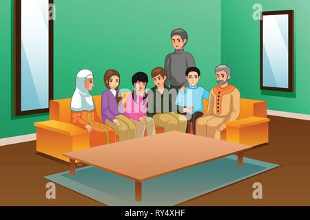 A vector illustration of Family at Home - Stock Image