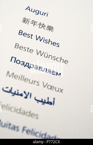 'best wishes' multilingual text words - Stock Image