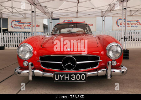 Front view of a beautiful red 1954 Mercedes-Benz  300SL Gullwing  which will be for sale in the 2029 Silverstone Classic Car Auction - Stock Image