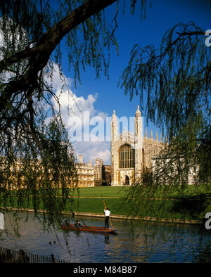 Kings College and punting on the Backs, Cambridge, Cambridgeshire, England, UK - Stock Image