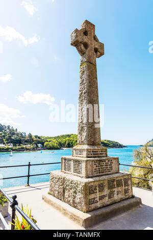 Salcombe war memorial, Salcombe, Devon, UK, England, Wheel cross monument, Wheel cross war memorial, Granite wheel cross, stone wheel cross, memorial - Stock Image