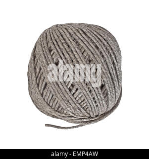vintage hemp cord ball isolated over white, clipping path - Stock Image