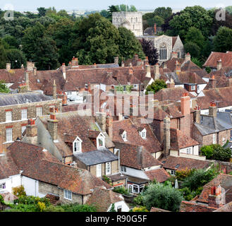 Aerial view looking towards  St Clement's Church, taken from the tower of St Peters Church, Sandwich, Kent - Stock Image