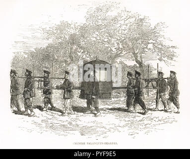 Chinese Palanquin bearers, India, 19th Century - Stock Image