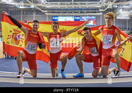 Glasgow, UK: 3rd March 2019: Spanish relay men team wins gold in 4x400m on European Athletics Indoor Championships 2019.Credit: Pawel Pietraszewski/ Alamy News - Stock Image