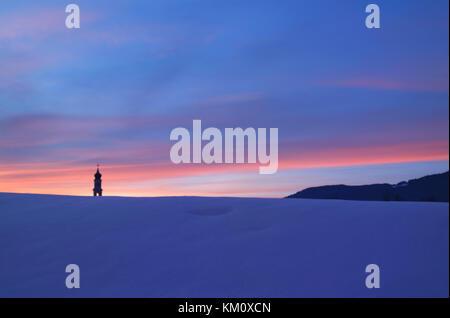 Snow on the Asiago plateau, Vicenza, Veneto, Italy - Stock Image