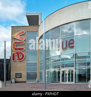 Exterior of modern Vue multiplex cinema showing colourful Vue logo and entrance lobby, Forthside, Stirling, Scotland, UK - Stock Image