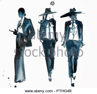 Watercolour fashion illustration of models on catwalk - Stock Image