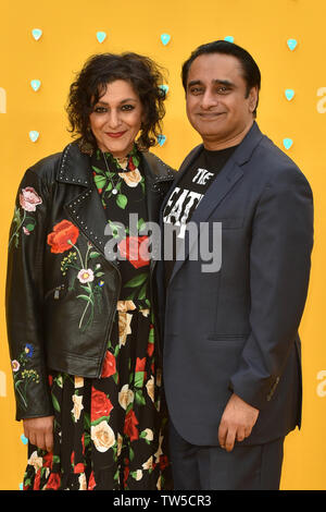 Meera Syal and Sanjeev Bhaskar attend the UK Premiere of 'Yesterday' at the Odeon Luxe in Leicester Square, London, England. - Stock Image