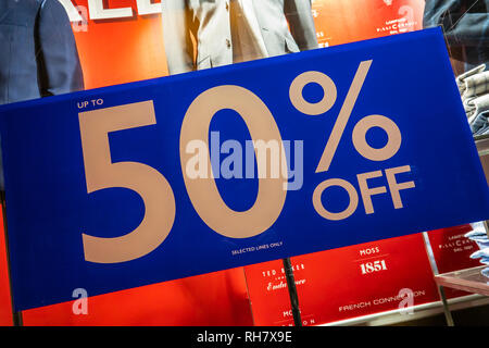 50%,Sale,Sign,Further Reductions,High Street,Store,Downturn,Sales - Stock Image