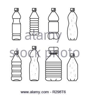 Pure drinking water. Line vector illustration of set of plastic bottles. Black bottles isolated on white background. - Stock Image