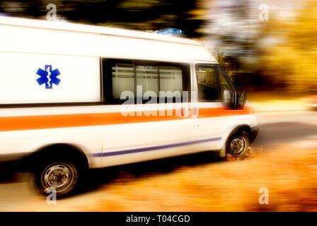 speeding ambulance - Stock Image