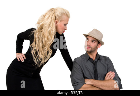 couple gazing at each other on isolated background - Stock Image