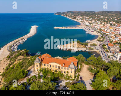 Panoramic aerial view of Limenaria old abandoned mining facility and castle - Stock Image