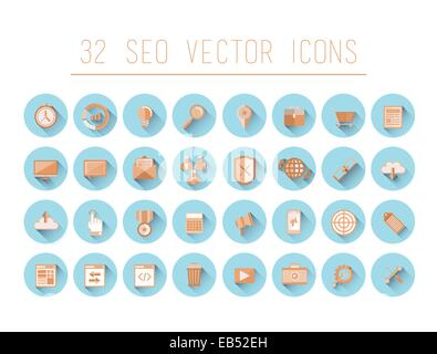 Seo and business icons on blue circles - Stock Image