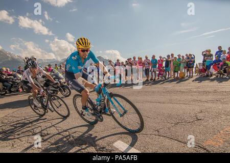 Mikel Landa and Egan Bernal Tour de France 2018 cycling stage 11 La Rosiere Rhone Alpes Savoie France - Stock Image